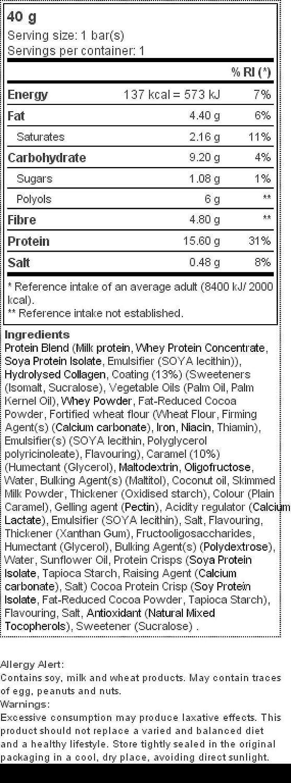 Zero Bar 40 g - Bajo contenido en azúcares Brownie de dulce de leche: Amazon.es: Salud y cuidado personal