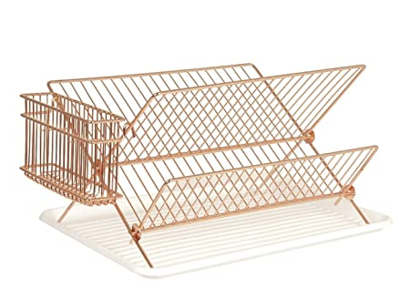 Two Tier Kitchen Dish Rack Drainer Metal Copper with Drip Tray ...