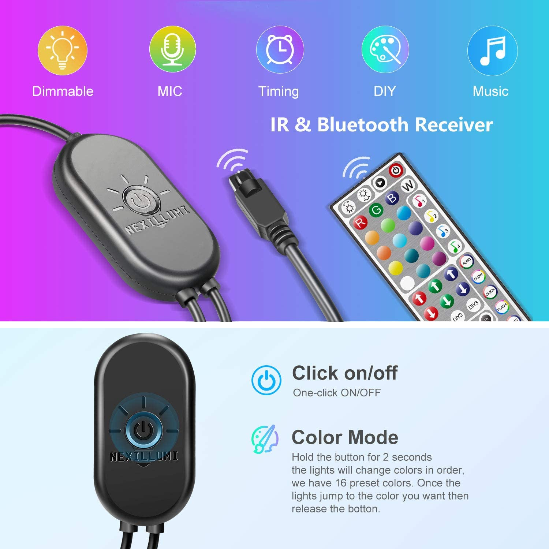 Under The Cabinet Rooms Dorm 16.4 Ft 44 Keys Remote+ Mic Control TVs Upgraded 16.4ft LED Strip Lights with Remote Music Sync LED Lights for Bedroom Color Changing SMD5050 RGB LED Strips for Desk