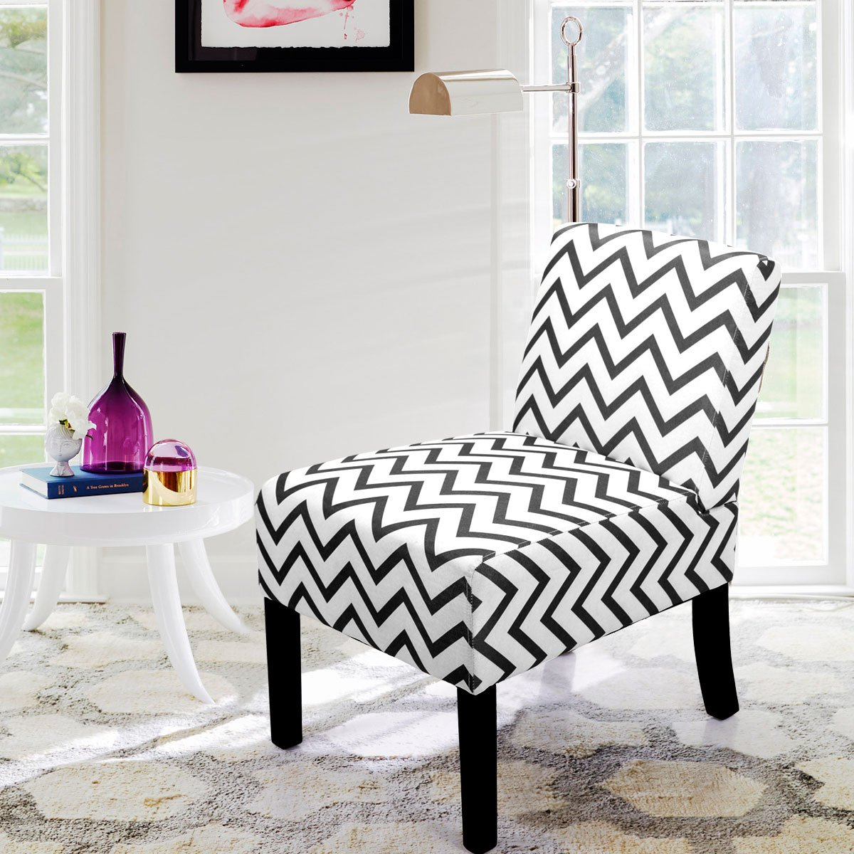 LAZYMOON Leisure Armless Chair Modern Contemporary Upholstered Single Couch Seat Accent Chair Living Room Chair Wave Print Gray