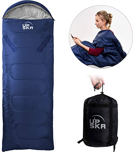 UPSKR Sleeping Bag Lightweight Waterproof for Adults Kids Cold Weather, 3-4 Season Envelope Sleeping Bags Great for Indoor Outdoor Use Hiking Backpacking Camping Traveling with Compression Sack