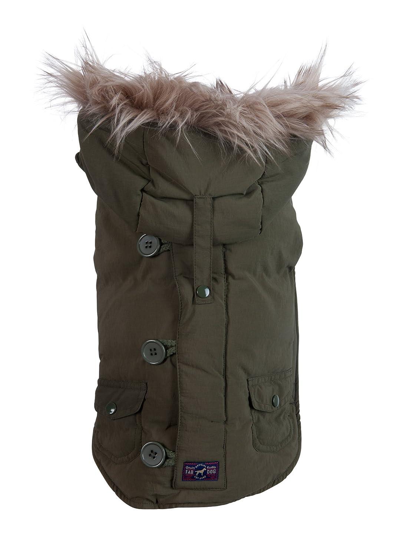 Olive 20\ Olive 20\ Fab Dog Removable Hooded Snorkel Dog Jacket, Olive, 20-Inch Length