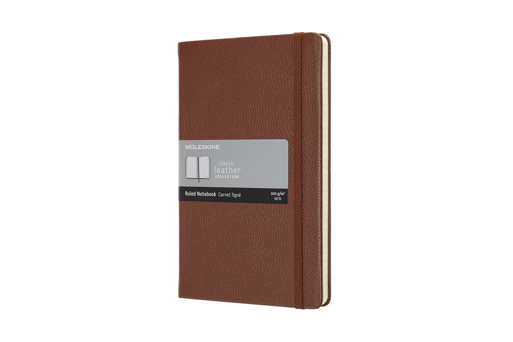 Moleskine Classic Hard Cover Leather Notebook, Ruled, (CJGS)