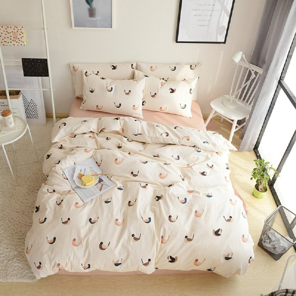 4 Pieces 100% Cotton 4 Piece Duvet Cover Set Love Bird Design Duvet Cover Flat sheet Pillow Cases Bed Sheet SetQueen Size