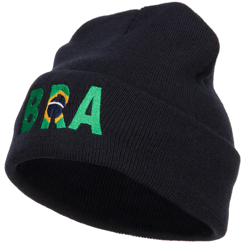 Amazon.com  E4hats Brazil Bra Flag Embroidered Long Beanie - Navy OSFM   Clothing 4b9d3af1f0a