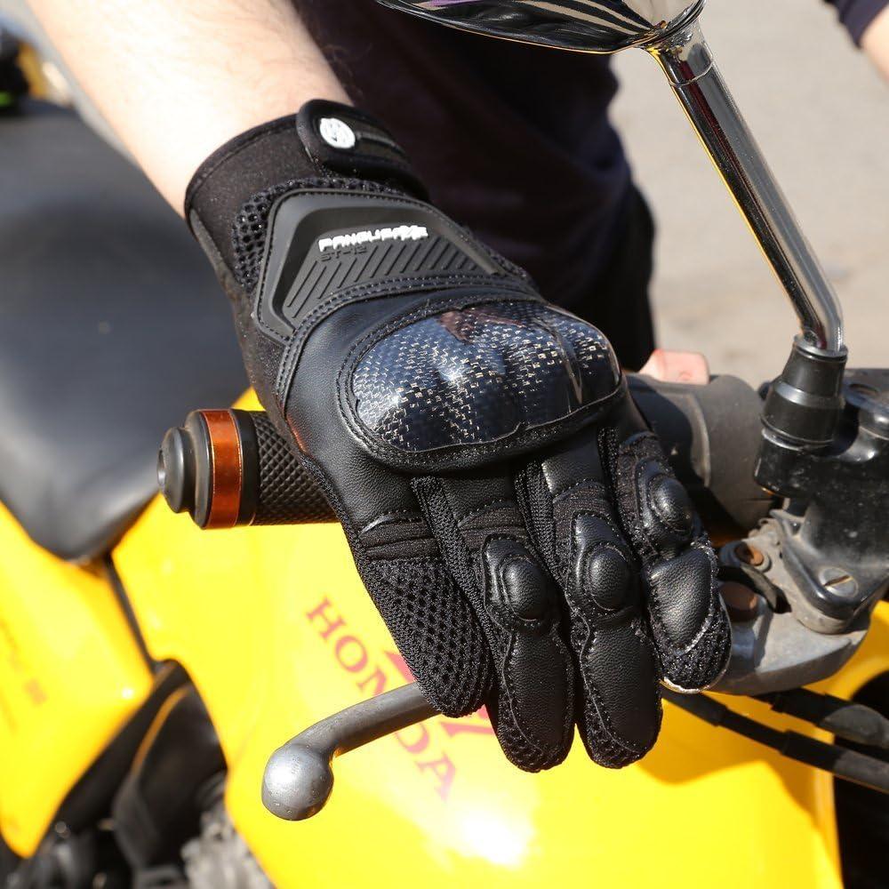 Guantes de Moto Transpirables Verano Off-Road Racing Guantes de Moto de Cuero con Nudillos Completos Protecci/ón Almohadilla Pantalla T/áctil.