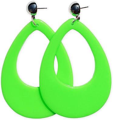 80er años aretes orejas pendiente verde colores de neón