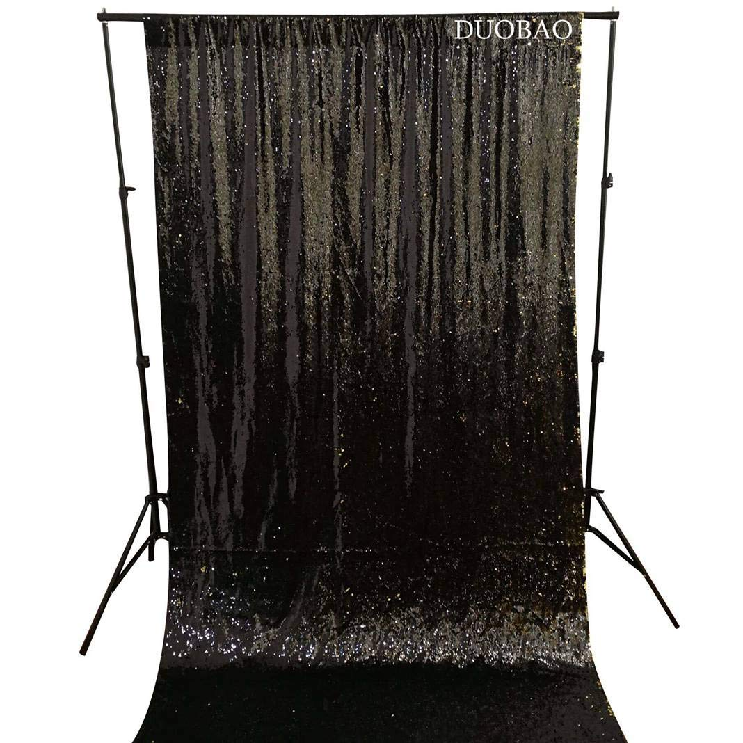DUOBAO Sequin Backdrop 8Ft Black to Gold Rerversble Glitter Backdrop 4FTx8FT Mermaid Sequin Backdrop for Photo Booth Wedding Ceremony Backdrop by DUOBAO (Image #3)