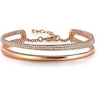 Angelady Bracelet Or Rose Bracelet Argent Femme avec des Cristaux Swarovski, Cadeau Anniversaire Femme Cadeau Fête des Mères pour Maman -avec Boîte Cadeau