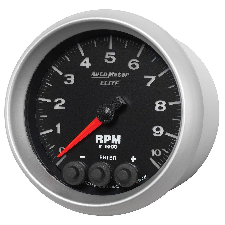 Auto Meter 5697 Elite Series 3-3//8 0-10000 RPM In-Dash Street Progressive Shift Light Tach Tachometer