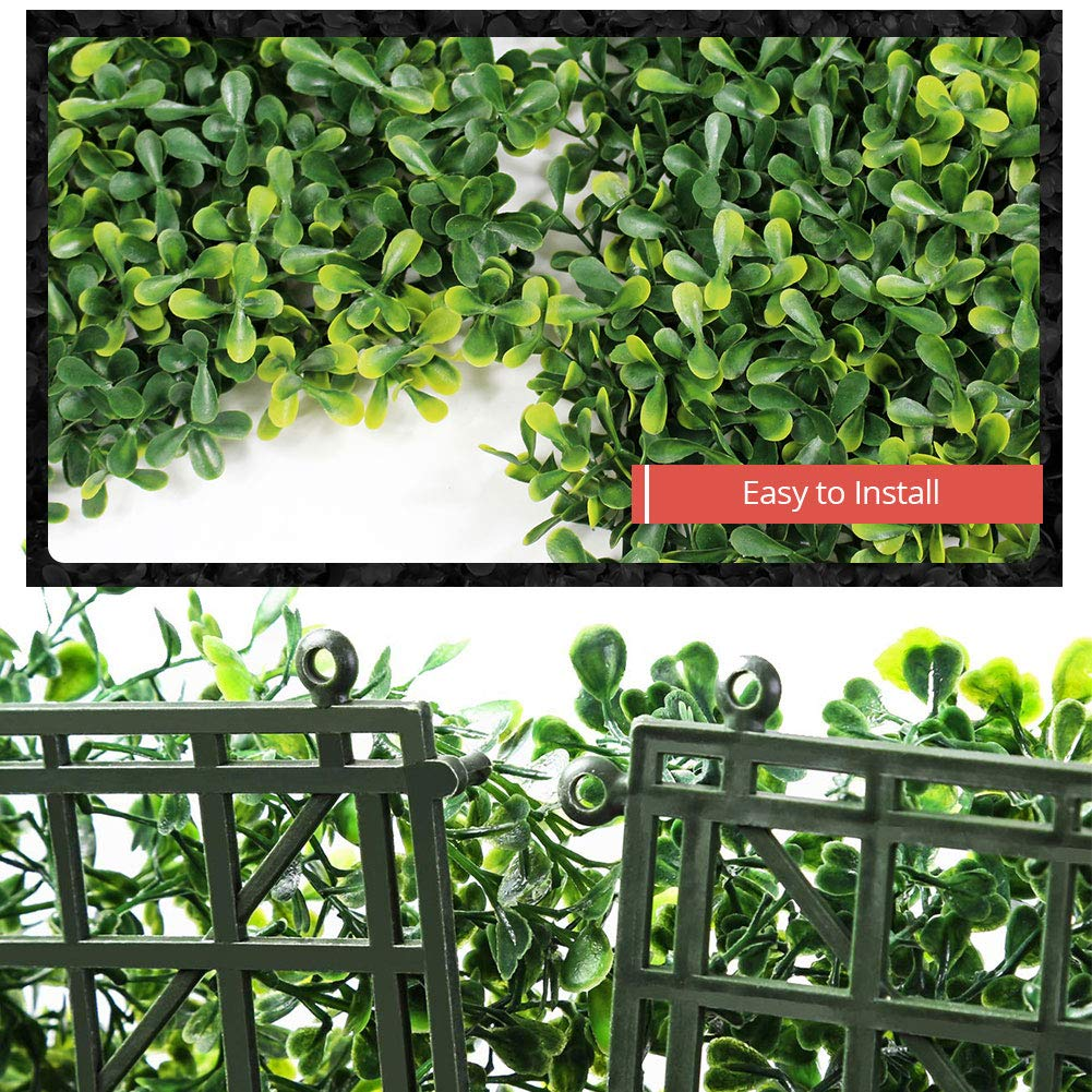4 Pcs Artificial Boxwood Hedges Panels Faux Plant Greenery Walls UV Protected Privacy Screen Outdoor Indoor Use Garden Backyard Fence Home Decor Plant Walls Topiary Hedge Plant 20 x 20 Inch