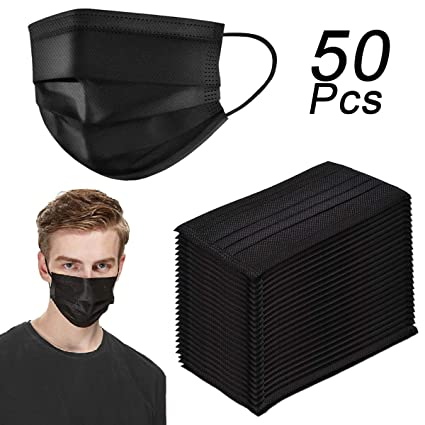 Carbon With Loop black Layer Filter Pack Face 50 Masks Four Cover Activated Ear Mouth Breathable Dust Disposable Elastic