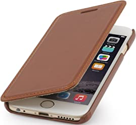 StilGut Book Type Case, Custodia in Vera Pelle a Libro con Apertura Laterale per Apple iPhone 6s Plus (5.5''), Cognac