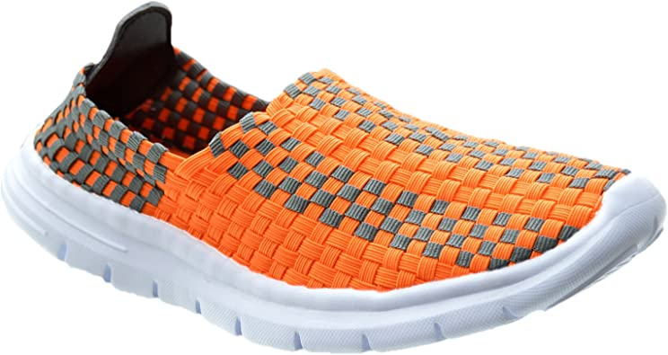 Ladies Womens Slip On Casual Walking Running Woven Gym Pumps Trainers Shoes Size