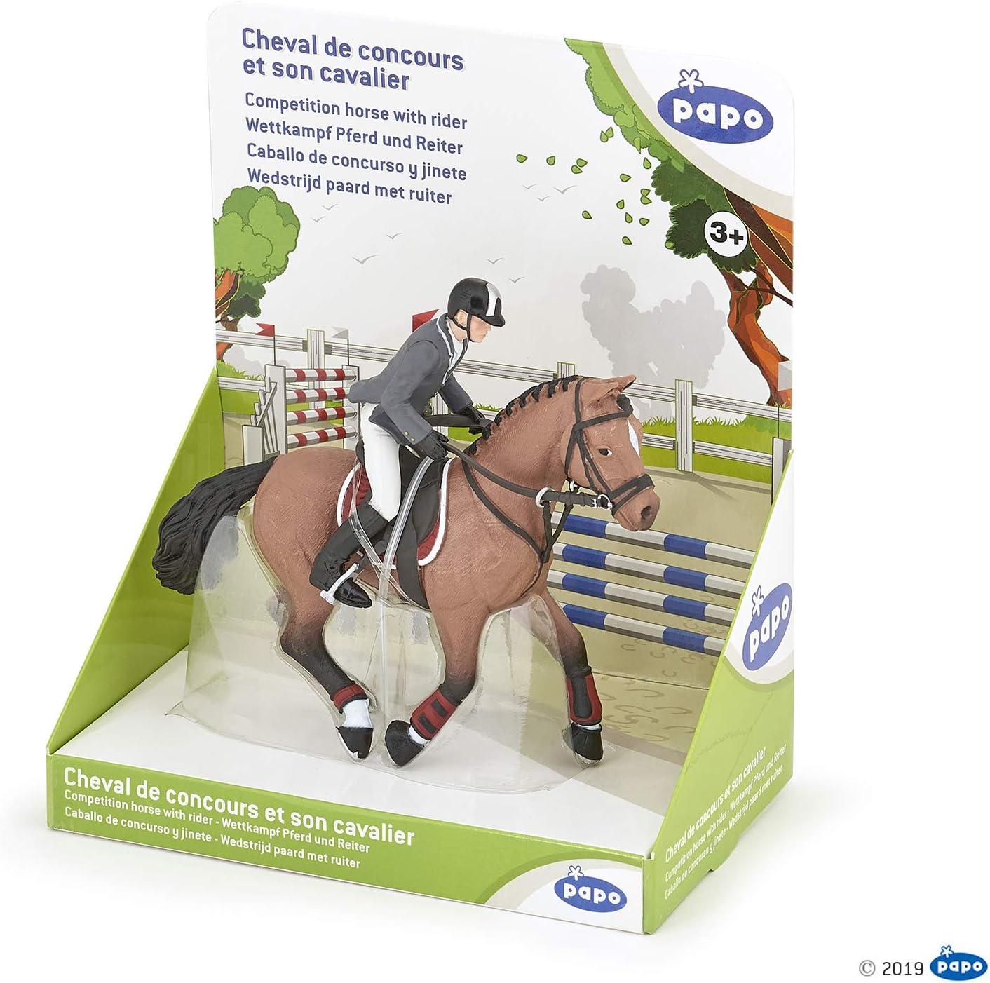 Papo 51561 Caballo de competición con Jinete, Foals Y Ponies Figurina, Multicolor