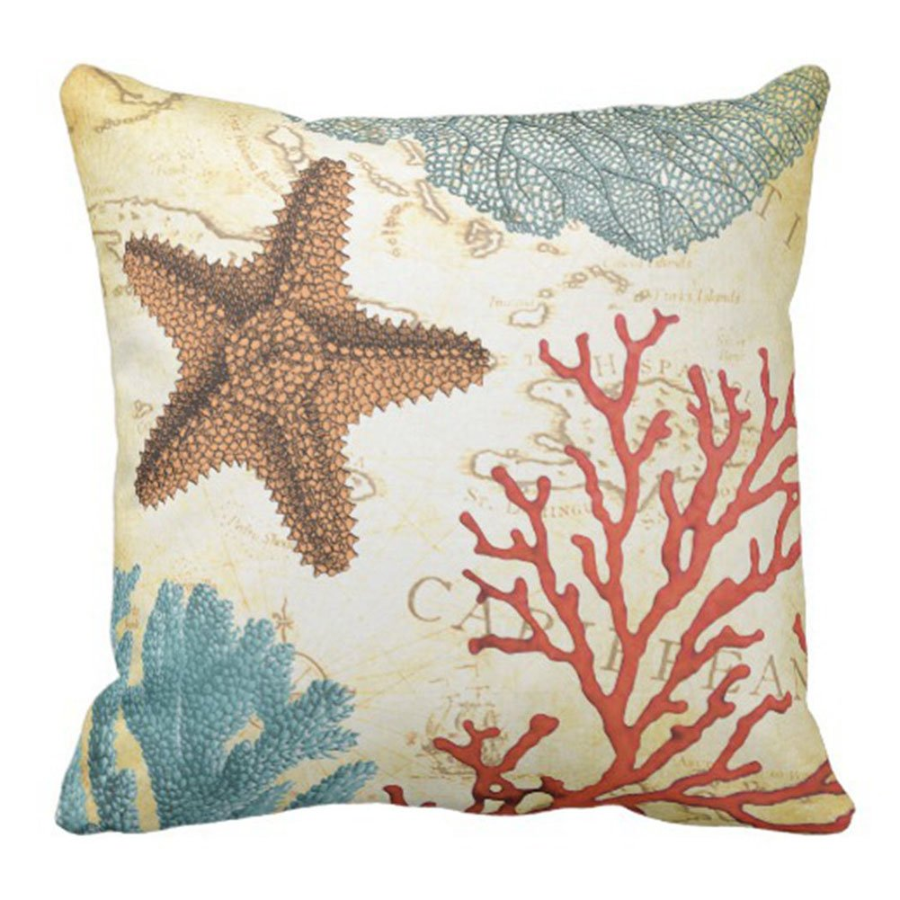 Starfish /& Coral Aremazing Summer Ocean Theme Marine Life Super Soft Throw Pillow Case Cushion Cover Home Office Decorative 18 X 18 Inches