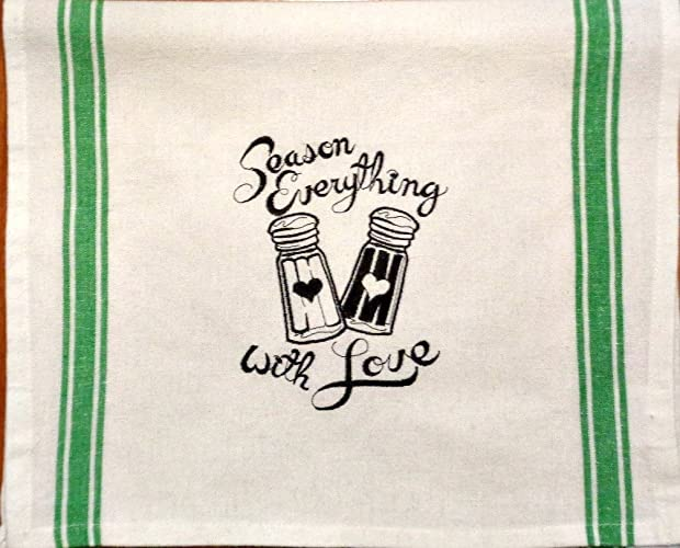 Season Everything With Love Saying Embroidered On Green Striped Kitchen Tea  Towel Natural With Loop In