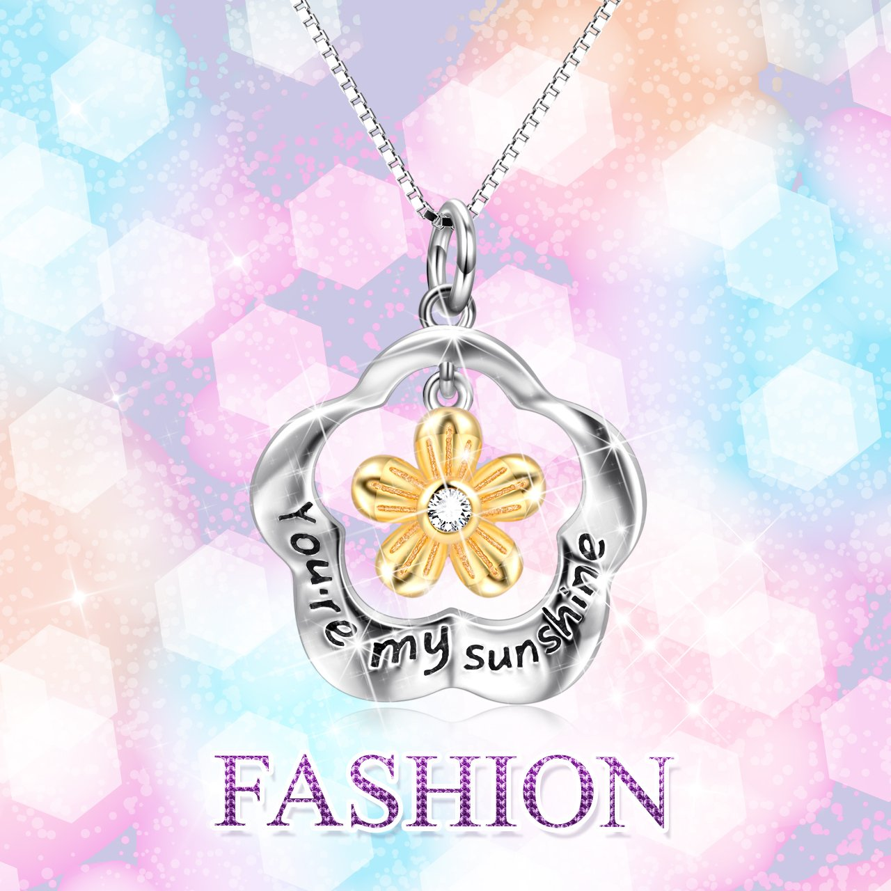POPLYKE You are My Sunshine Sterling Silver Sunflower Pendant Necklace Gifts for Women Girls by POPLYKE (Image #4)