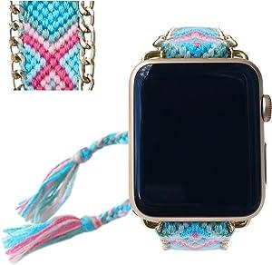 Apple Watch Band 42MM, Fashion Handmade Friendship Bracelet Replacement iWatch Strap Women Girls for Apple Watch Series 2 Series 1 All Version (Pale Summer)
