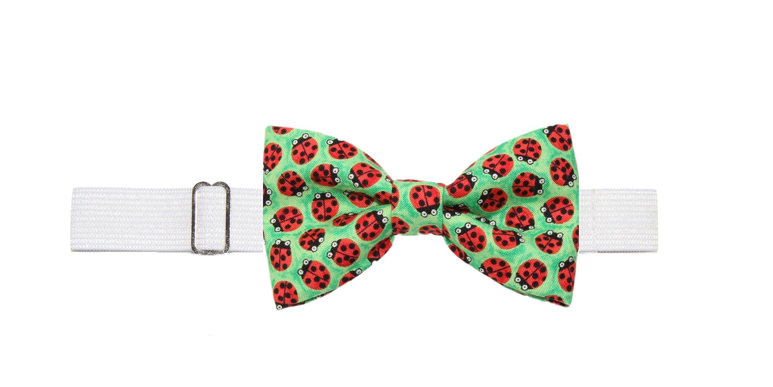 Boys ( 6 -11 Years) Ladybugs Pre-Tied Cotton Bow Tie On Adjustable Elastic Strap