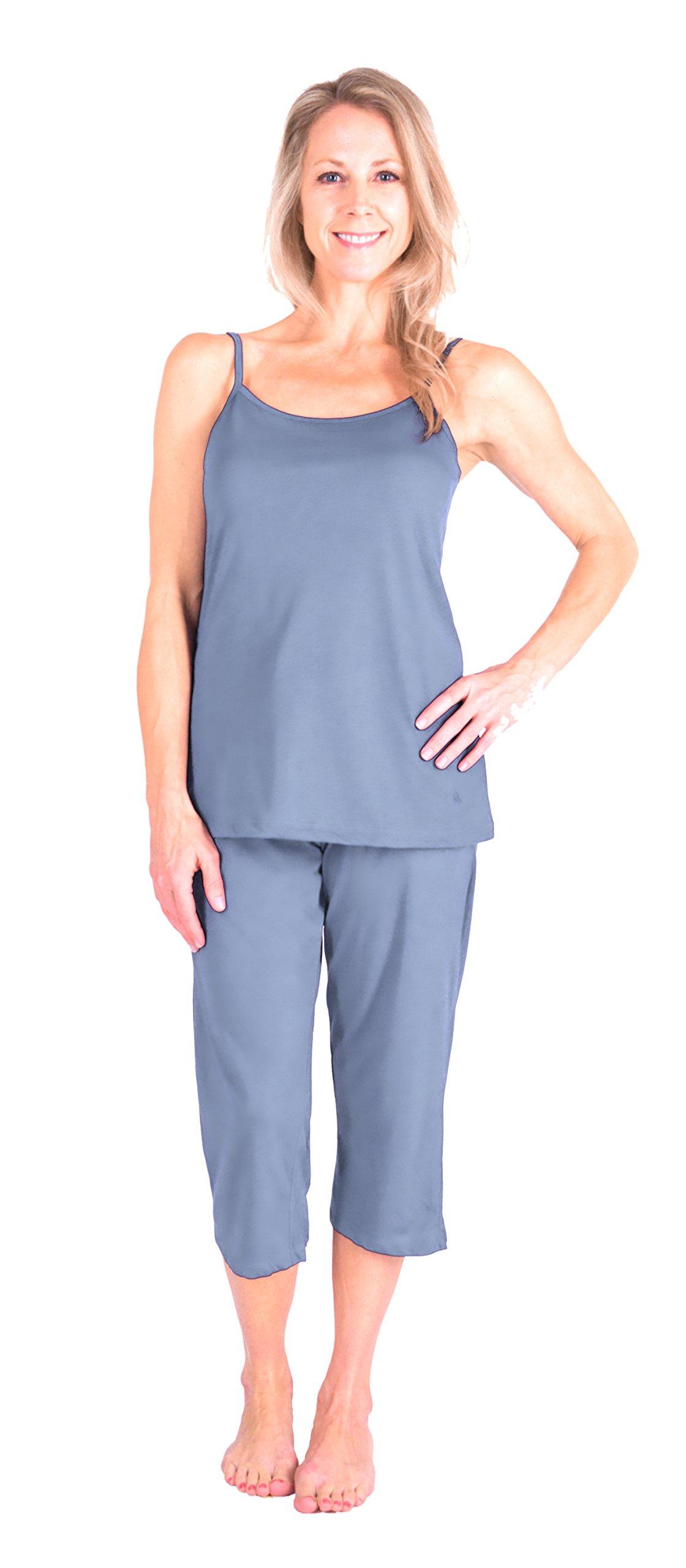 Moisture Wicking Cami Capri Pajama Set (S-XL) (Medium, Dusty-Periwinkle)