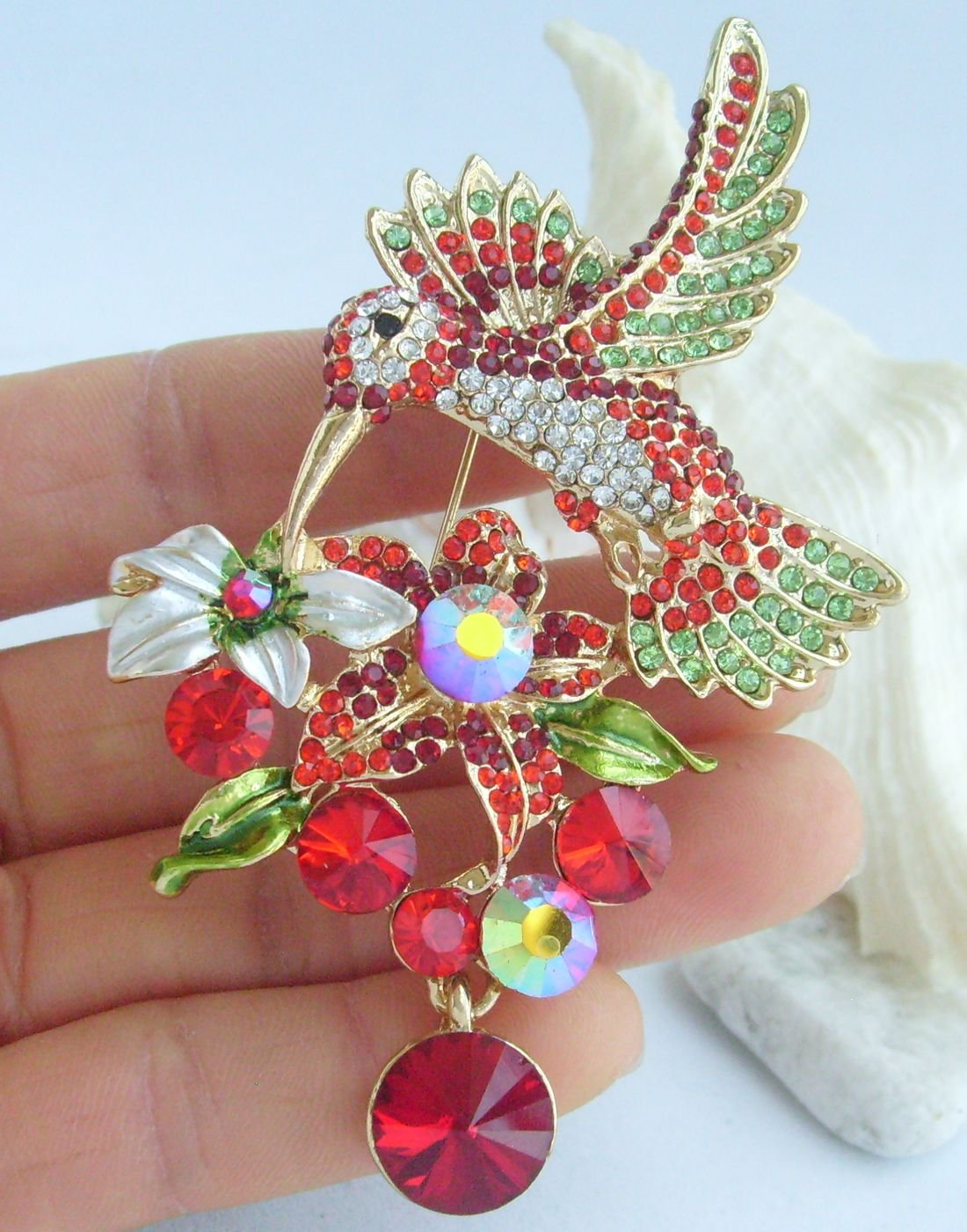 Sindary Pretty 3.54'' Animal Pendant Hummingbird Brooch Pin Rhinestone Crystal BZ6385 (Gold-Tone Red) by Animal Brooch-Sindary Jewelry (Image #2)