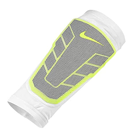 65bd14394 Buy Nike Pro Combat Hyperstrong Compression Elite Shin Sleeve Guard  White/Volt Large Online at Low Prices in India - Amazon.in