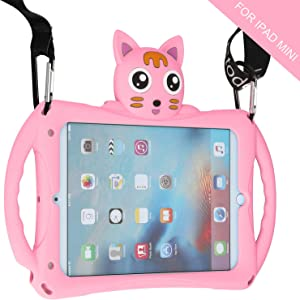 iPad Mini Case for Kids [with Adjustable Shoulder Strap] Etoden Shockproof Silicone Handle Stand Case Cover for iPad Mini/Mini 2 / Mini 3/Mini 4/Mini 5 (Pink)