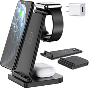 Wireless Charger, Hargedis Wireless Charging Station, QI 3 in 1 Wireless Charger for iPhone 12/12 Pro/11 Pro Max/XR/XS Max/Xs/X/8/8P, iWatch 6 5 4 3 2, AirPods Pro/2(with QC3.0 Adapter)