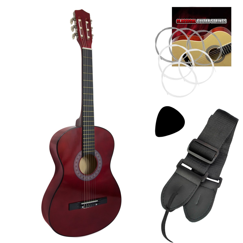 Tiger - Guitarra clásica para principiantes, color rojo: Amazon.es ...
