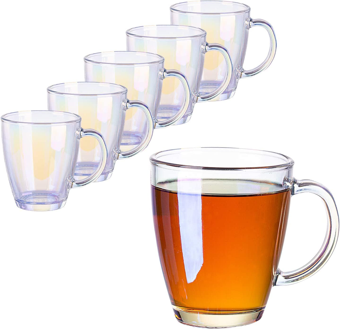 SUNNOW Vastto 11 Ounce Iridescent Coffee Mug Warm Beverage Mug,for Latte,Cappuccino,Hot Chocolate,Tea and Juice,Set of 6 (Rainbow-colored)