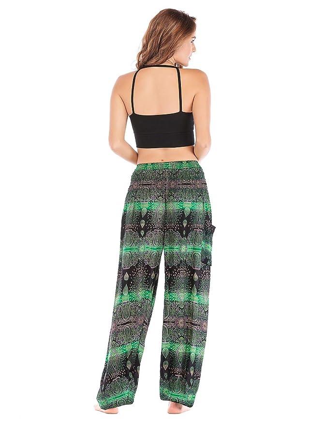 Amazon.com: OMZIN - Pantalones de mujer Boho Harem Hippie ...