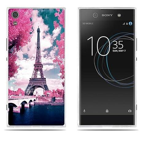 FUBAODA Funda Carcasa para Sony Xperia XA1 Ultra, Gel de Silicona TPU, Diseño Romántico de la Torre Eiffel, Carcasa Protectora de Goma Sony Xperia XA1 ...