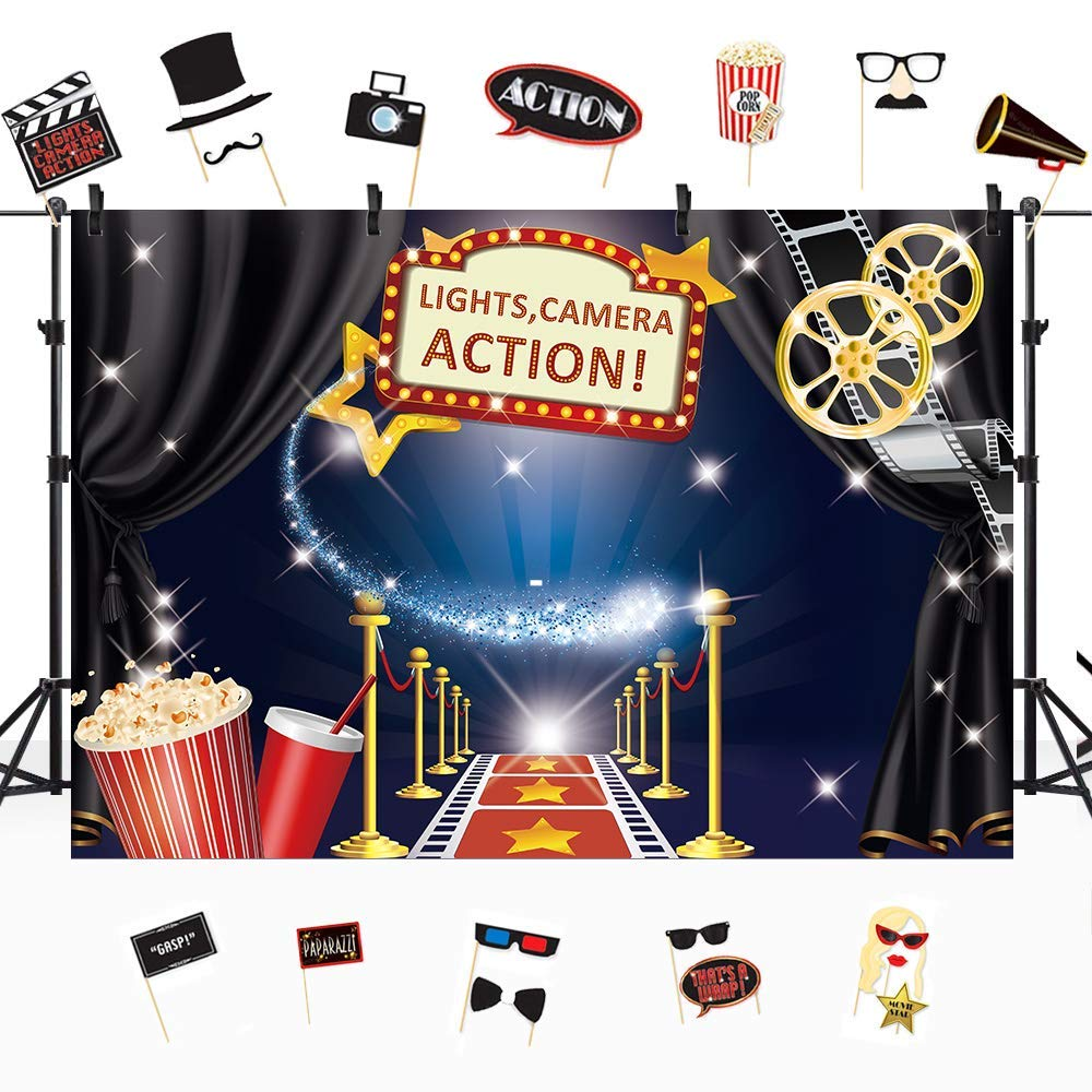 Riyidecor Hollywood Movie Backdrop Free Stage Masks Award Ceremony Red Carpet Photography Background 7x5ft Studio Cartoon bluee Kids Funny Props Photo Birthday Party Shoot Backdrop bluesh Vinyl Cloth