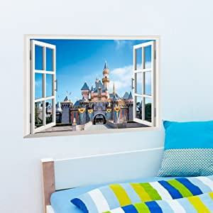 NOYT Wall Sticker Paper Mural Art Decal Home Room Decor Office Wall Mural Wallpaper Art Sticker Decal for Home Bedroom 3d False Window Cityscape