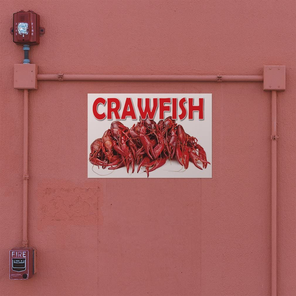 Set of 2 54inx36in Decal Sticker Multiple Sizes Crawfish #2 Animals Seafood Outdoor Store Sign White