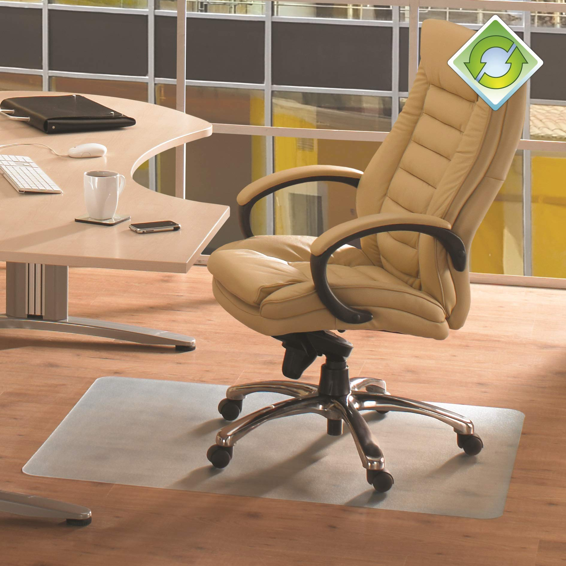 Floortex EcoTex Evolutionmat Chair Mat, Made of Recycled Enhanced Polymer, for Hard Floors, 48'' x 51'', Rectangular, Clear (FRECO124851EP)