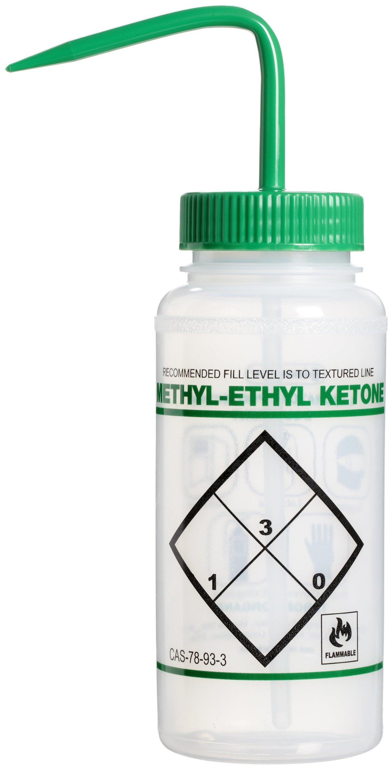 Bel-Art Safety-Labeled 2-Color Methyl Ethyl Ketone Wide-Mouth Wash Bottles; 500ml (16oz), Polyethylene w/Green Polypropylene Cap (Pack of 6) (F11646-0611)