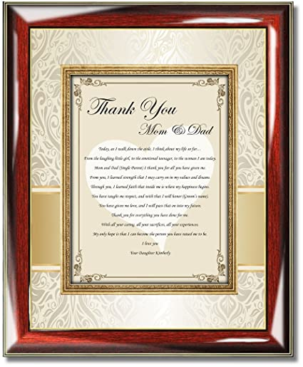 Amazon Com Thank You Parents Poetry Plaque From Daughter