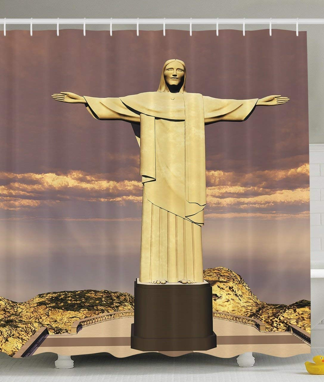 werert Grandma Gifts Famous The Reedemer Statue Rio Symbol De Janeiro City Symbol Rio of Monumental Architecture Sculpture Bath Decor Shower Curtain, Taupe Yellow Marrón 60 X 72 bba7c2