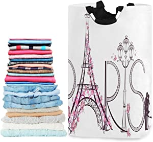 visesunny Tower Eiffel with Paris Lettering Large Laundry Hamper with Handle Foldable Durable Clothes Hamper Laundry Bag Toy Bin for Bathroom, Bedroom, Dorm, Travel
