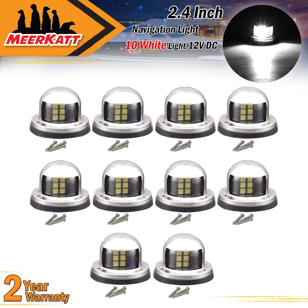 Pack of 10 Meerkatt White Clearance Lamp Marine LED Mount Navigation Bow Lights Waterproof w//Stainless Steel Port Starboard Front Rear Fishing Boat Yacht Vessel Viking Skeeter 12v DC 8 Diodes RR12