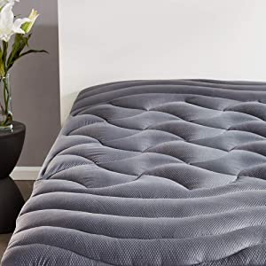SLEEP ZONE Premium Mattress Pad Cover Cooling Overfilled Fluffy Soft Topper Zone Design Upto 21 inch Deep Pocket with Elastic Skirt, Grey, Queen