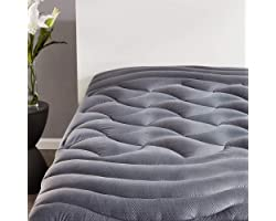 SLEEP ZONE Premium Mattress Pad Cover Cooling Overfilled Fluffy Soft Topper Zone Design Upto 21 inch Deep Pocket with Elastic