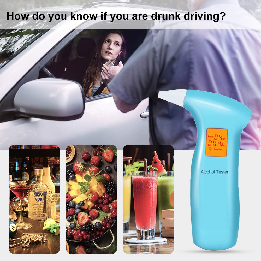 Breathalyzer Alcohol Tester-Personal Digital Breath Alcohol Tester Portable Alcohol Breathalyser-High Accurate Alcohol Detector with LCD Display and 4 Mouthpieces