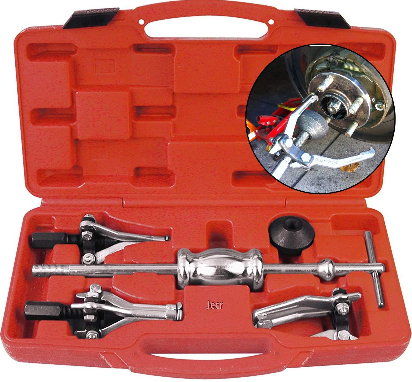 Jecr Slide Hammer Puller Set - Internal and External 3 Jaw Bearing and Bushing Pulling Tool Kit - Three Leg Slide Hammer Puller Set With Case - For bearings, bushings, seals, retainers, etc.