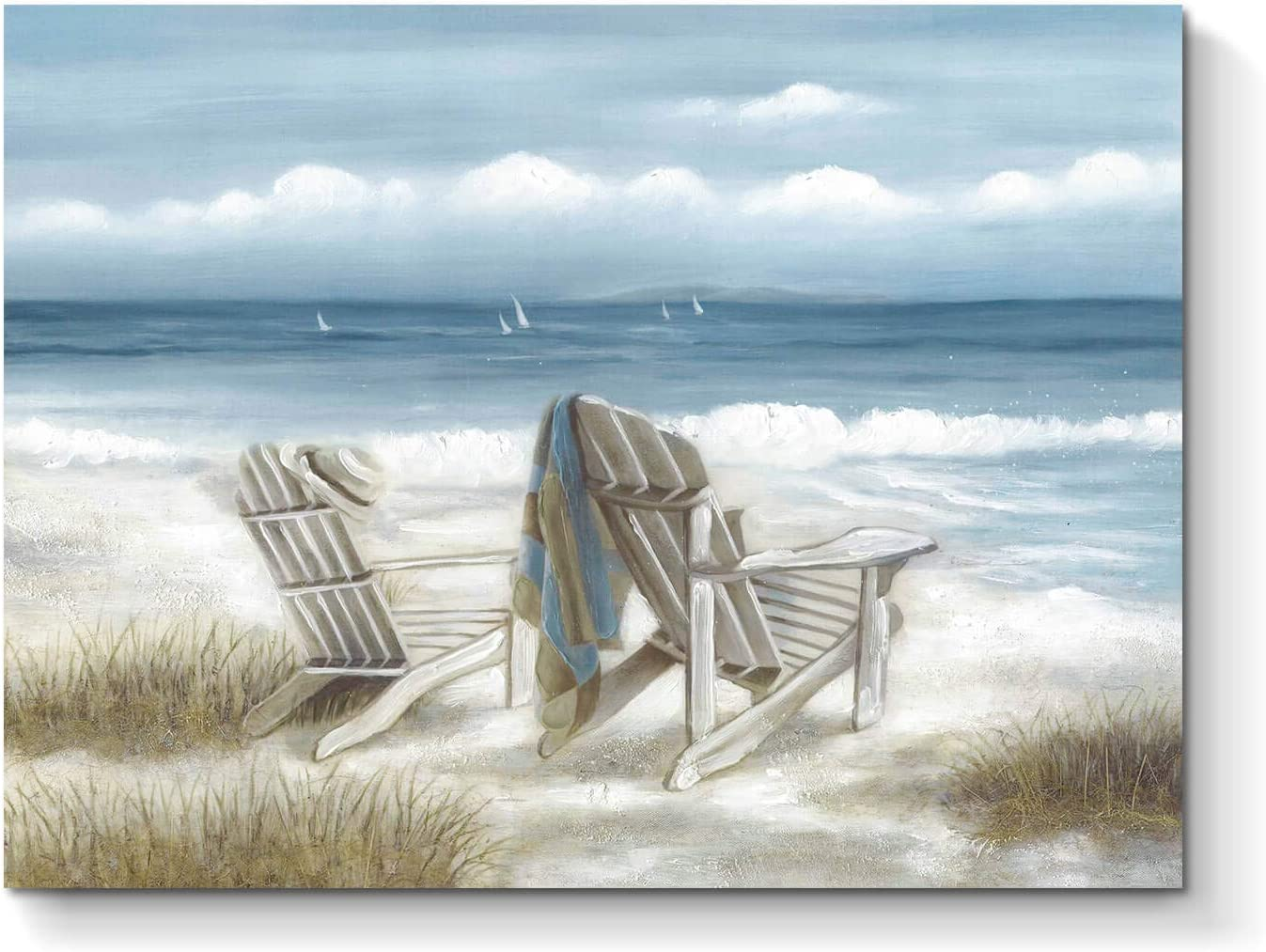 Abstract Seascape Canvas Wall Art: Beach Chair on Sand Painting Print for Bedroom ( 24'' x 18'' x 1 Panel )