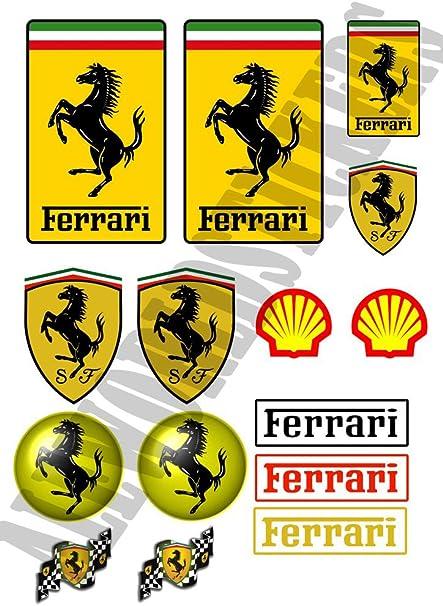 AWS Juego DE 15 Stickers Pegatinas Replica Ferrari Impermeables para Coche Moto Precortados al Plotter Pegatinas Emblema Logo Tamaño Impresión A4 Waterproof Stickers 29,7 cm X 21 cm: Amazon.es: Coche y moto