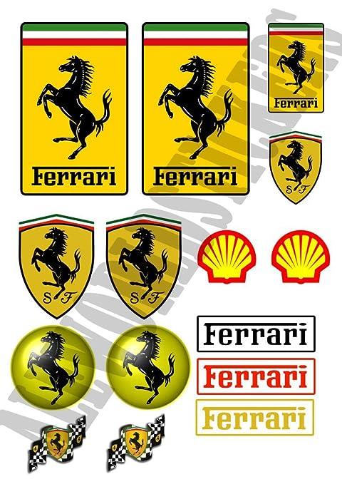 Kit de 15 pegatinas réplicas de Ferrari impermeables para coche/ moto (2