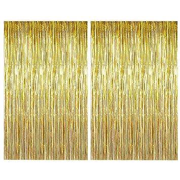 Metallic Lametta Folie Fransen Fenster Vorhang Hochzeit Party Deko Gold